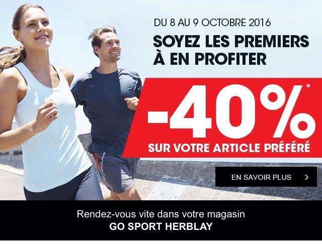 40% de réduction sur l'article de votre choix (Hors Soldes, Promotions en cours...)