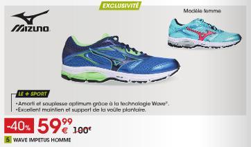 Jusqu'à 70% de réduction sur une sélection d'articles - Ex : Chaussures Mizuno Wave Impetus