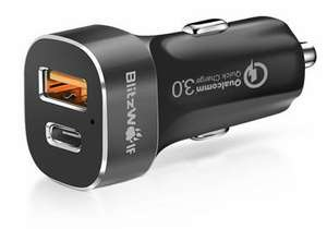 Chargeur allume-cigare BlitzWolf BW-C8 - Quick Charge 3.0 (USB Type A + Type C) + Câble microUSB 2.1A 1m