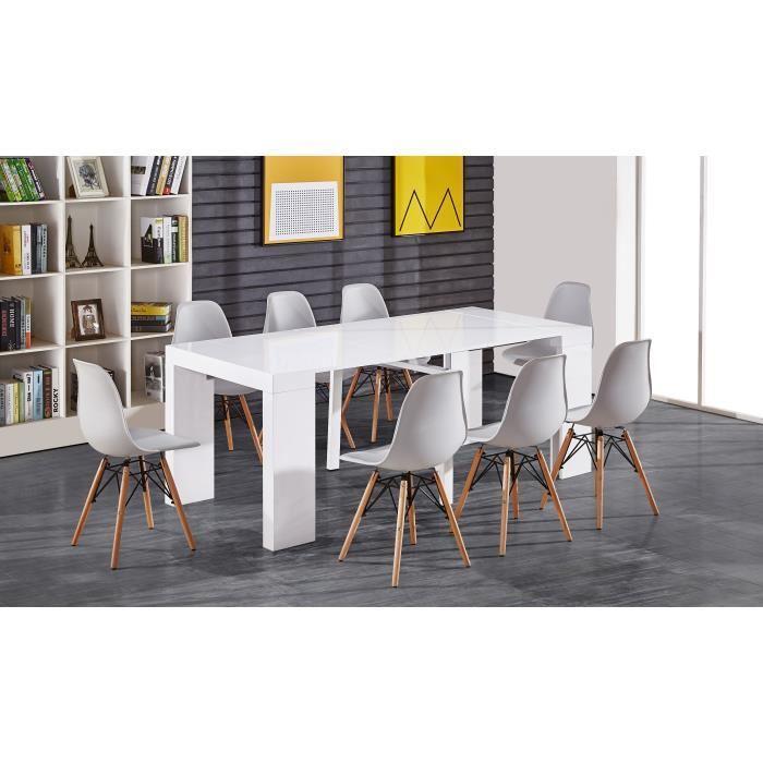 Console/Table extensible Zack 8 personnes - Laqué blanc (45-200 x 90 cm) + 200€ en 1 bon d'achat