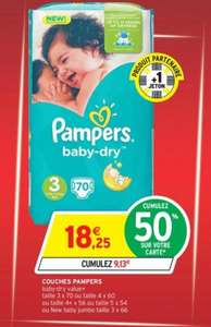 Lot de 70 couches Pampers baby dry (via C-Wallet et 9.13€ sur la carte)