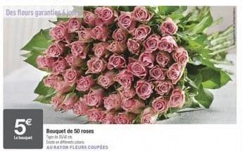Bouquet de 50 Roses - Tiges 35/40cm, différents coloris