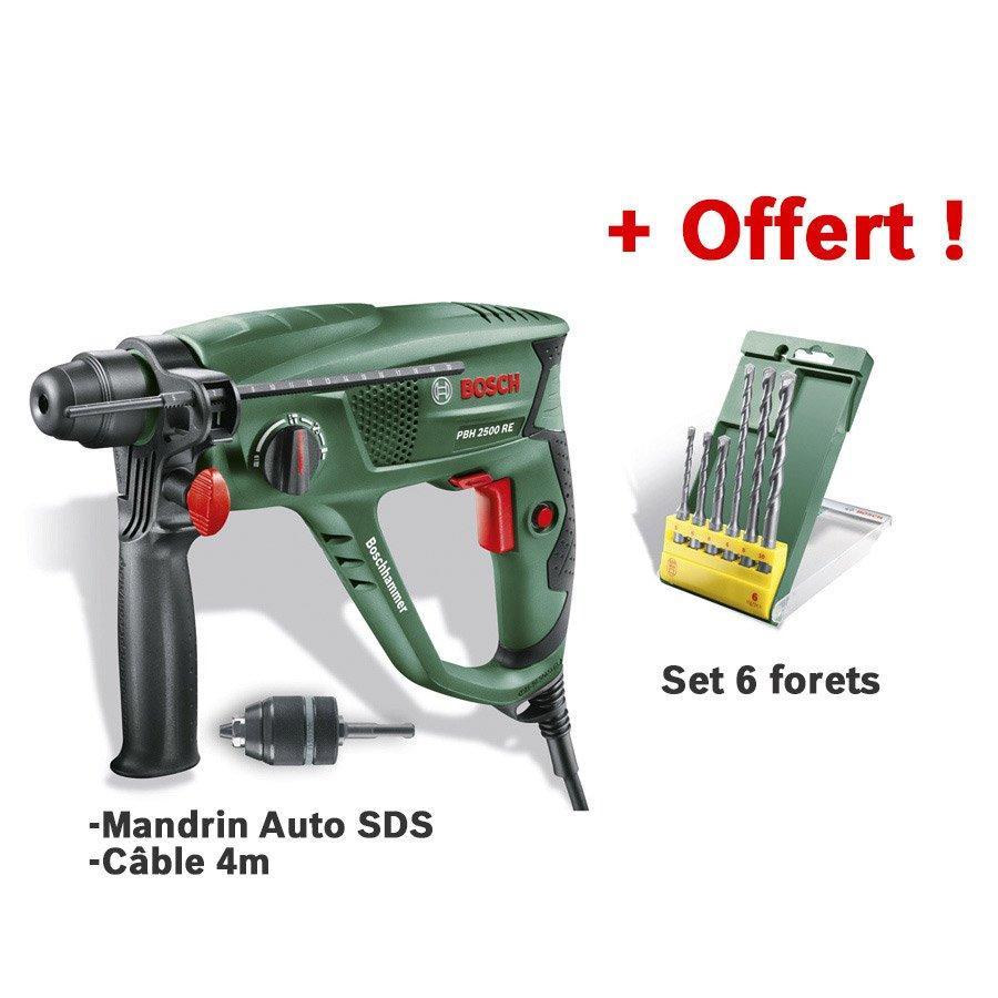 Perforateur Bosch SDS-Plus Pbh 2500 sre - 600W, 1,9J + Mandrin + 6 Forets