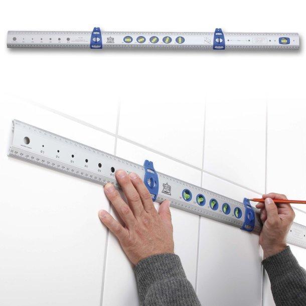 Règle multifonction en aluminium avec 5 bulles de niveau + 2 aides au marquage mobiles