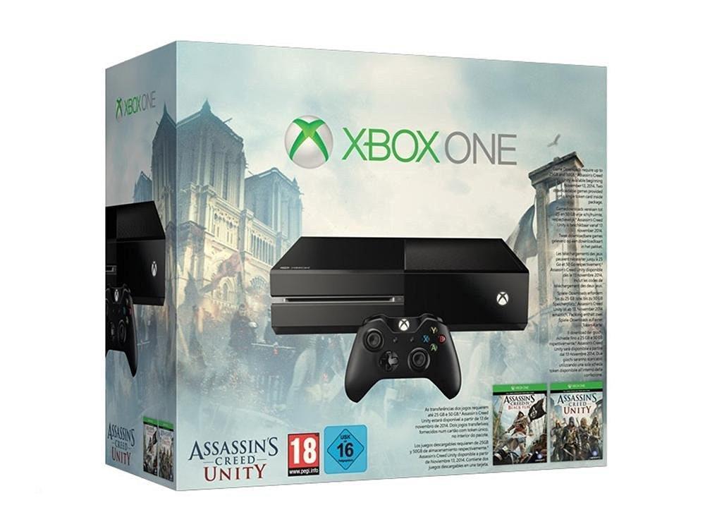 Console Microsoft Xbox One 500 Go + Assassin's Creed Unity + Assassin's Creed Black Flag (Dématérialisés)