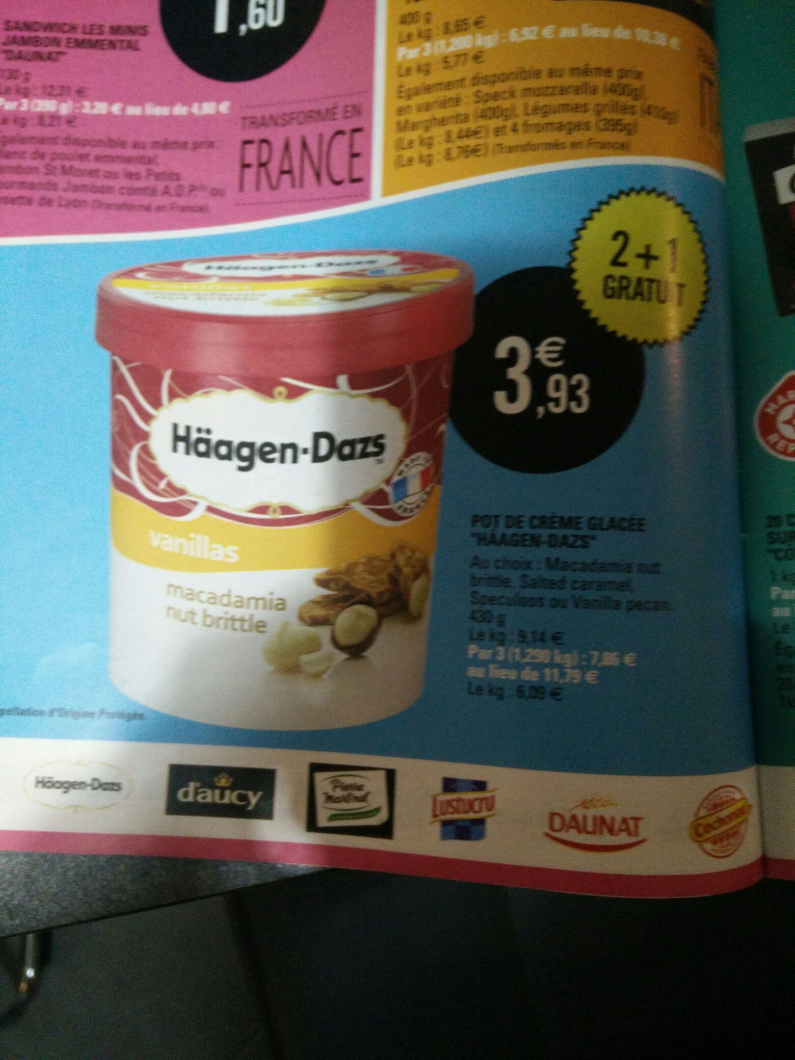 3 pots de glace Häagen-Dazs de 430g (parfum au choix)