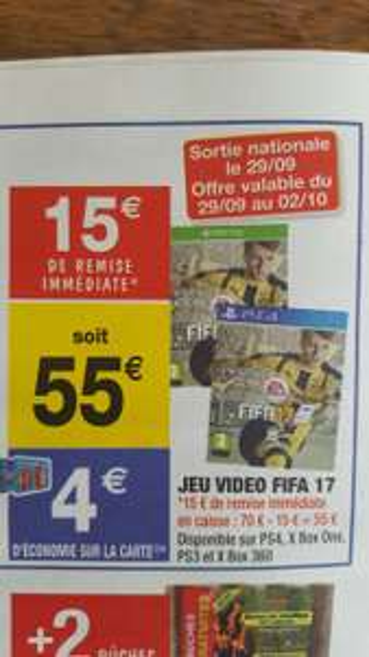 Fifa 17 sur PS4 & Xbox One (via 4€ sur la carte)