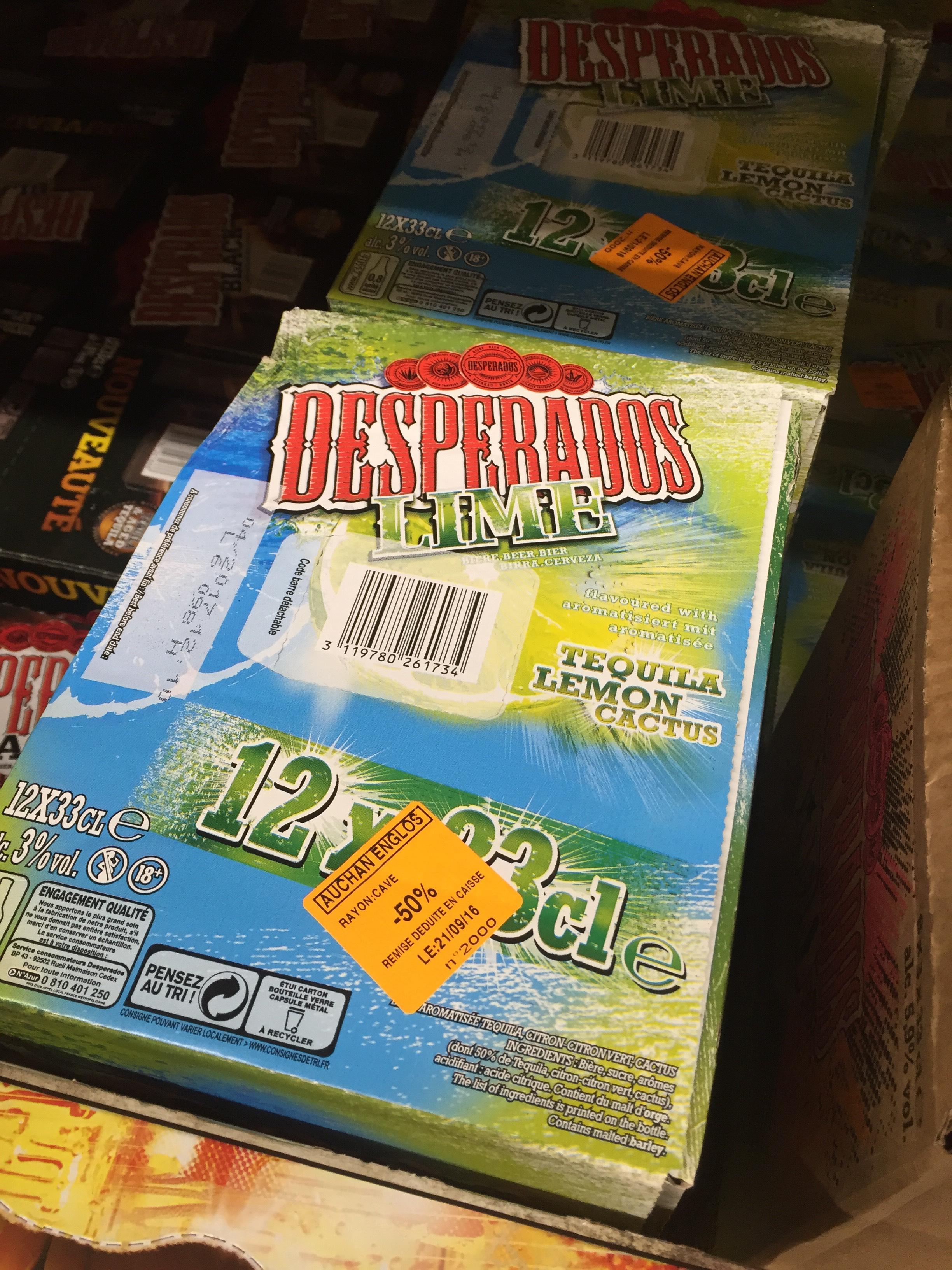 Pack de bières 12 x 33 cL Deperados Lime à 1,6€ le L