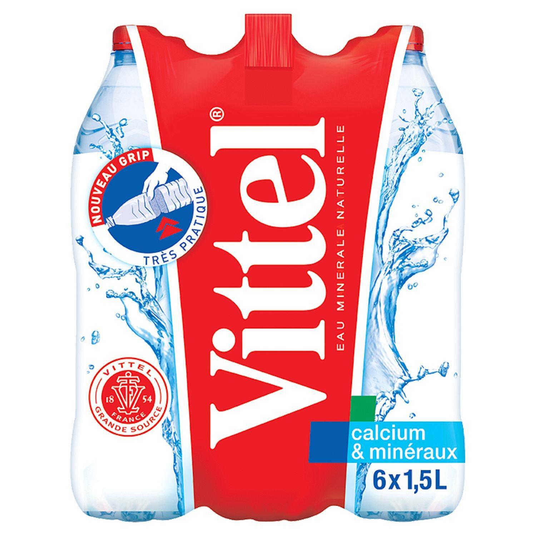 Lot de 4 packs de 6 bouteilles d'eau minérale Vittel - 1.5 L