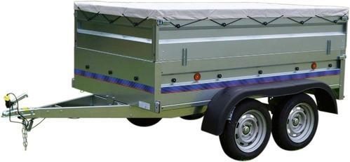 Remorque utilitaire RA 230 double essieux (230 x 130 x 30 cm) + Rehausses métalliques et bâche plate