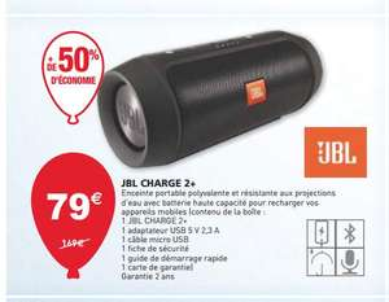 Enceinte nomade sans fil - JBL Charge 2+ - Frontaliers