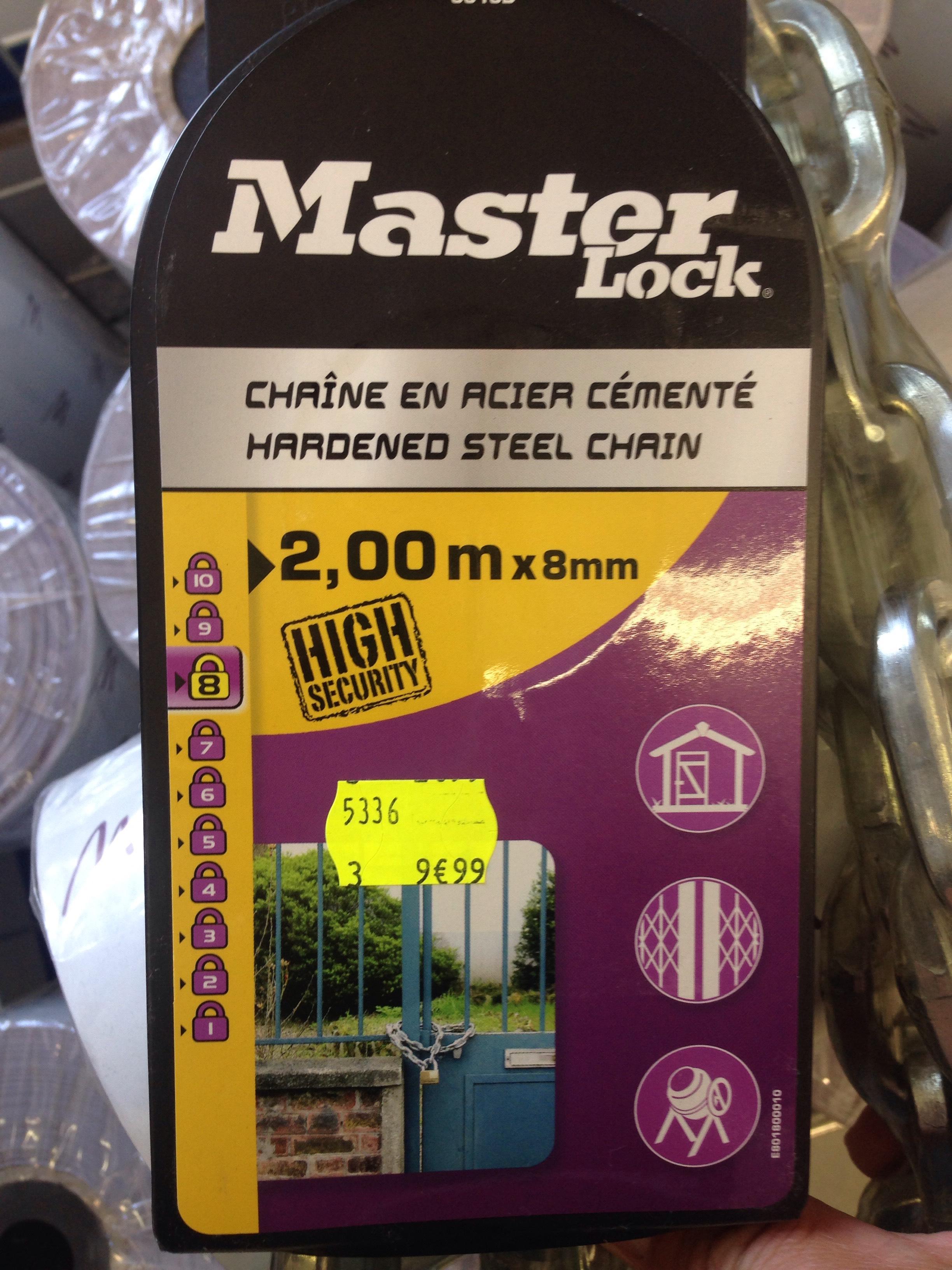 Chaîne Master Lock - 2 m, en acier cémenté