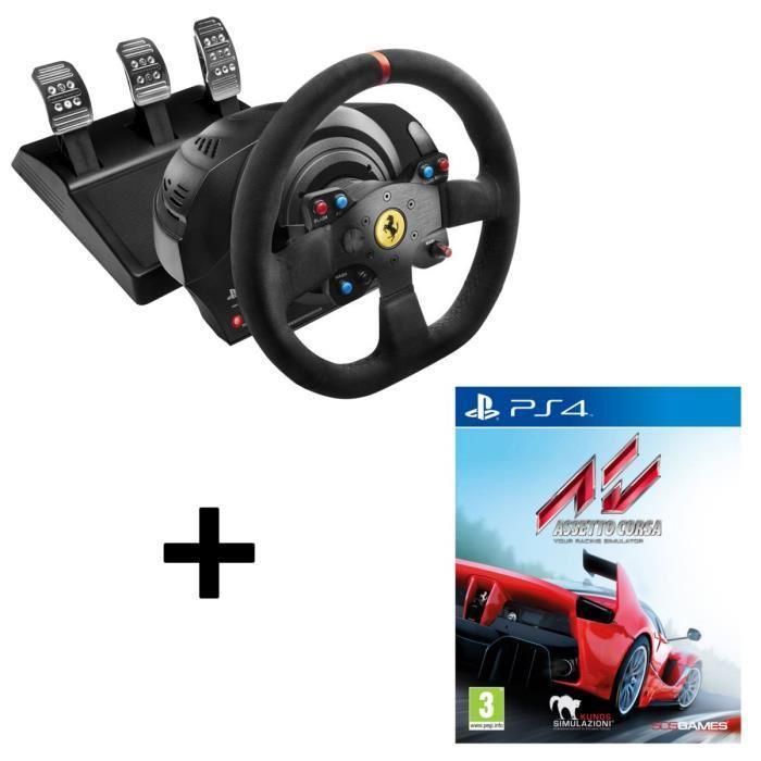Volant ThrustMaster T300 Ferrari Integral Racing 599XX Evo - Alcántara Edition pour PS3/PS4/PC + Jeu assetto corsa sur PS4