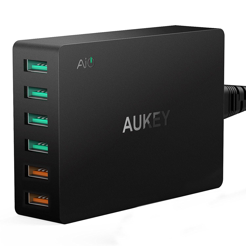 Chargeur USB Aukey 6 Ports USB - 2 Ports QC 3.0