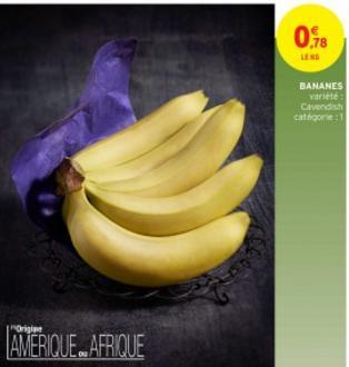 Le kilo de Banane Cavendish (provenance Amérique ou Afrique)