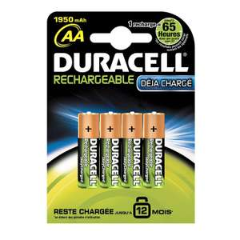 [Panier Plus] Lot de 4 Piles Rechargeables Duracell Ultra AA HR6 - 1950 mAh