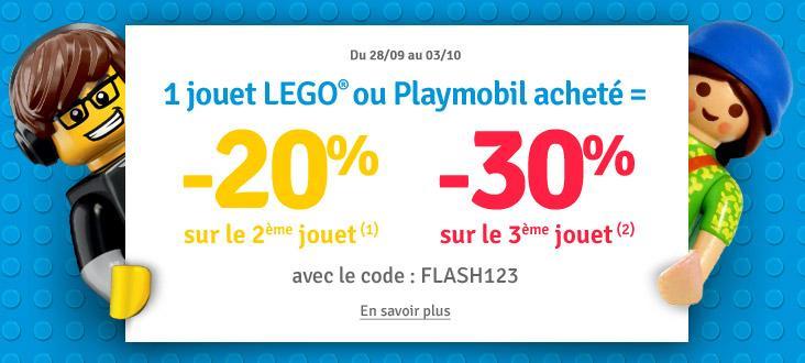 Un jouet Lego ou Playmobil acheté = -20% sur le deuxième jouet et -30% sur le troisième