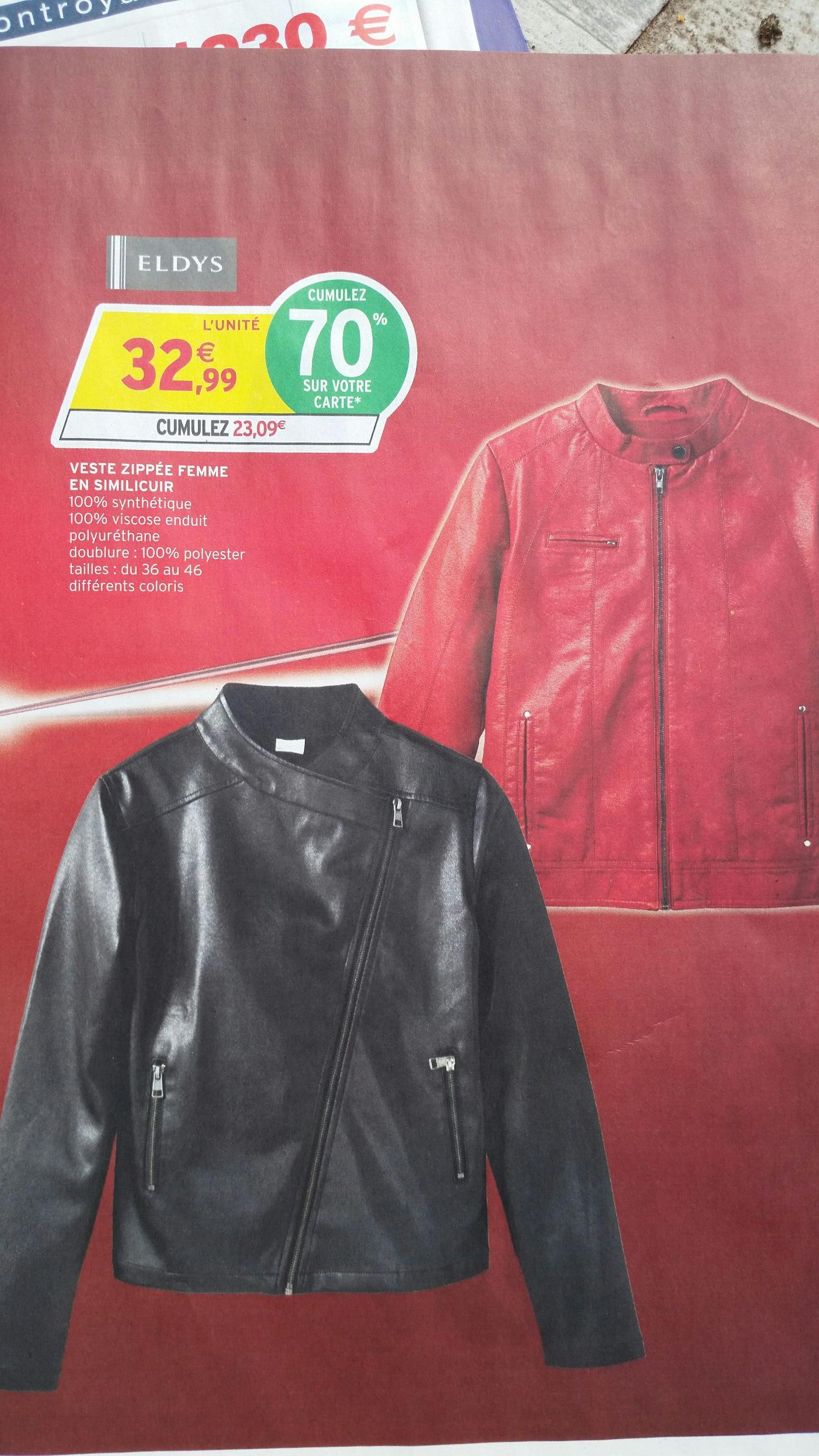 Veste zippée femme en simili cuir (via 23,09€ sur la carte)