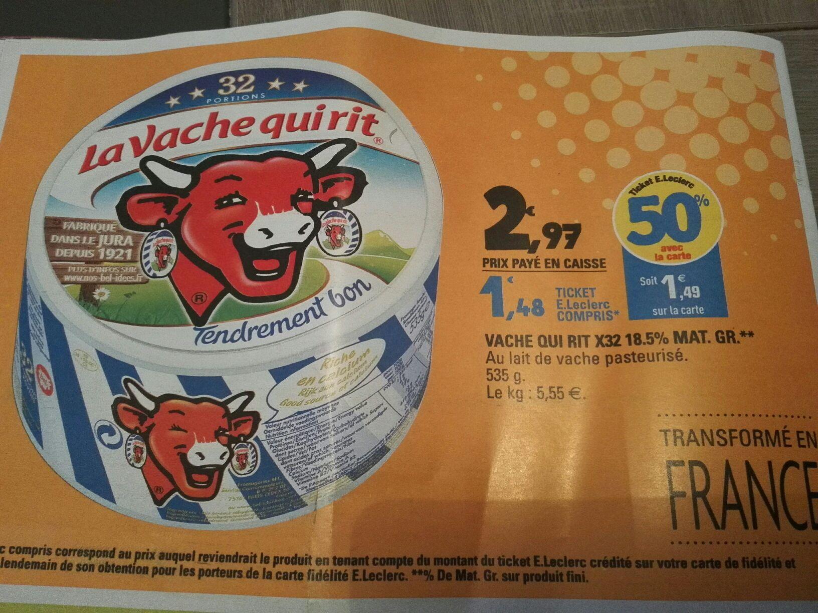 Sélection de produits en promotion - Ex: 2 Boîte de 32 portions La Vache Qui Rit (Via 50% sur la carte de fidélité + BDR)