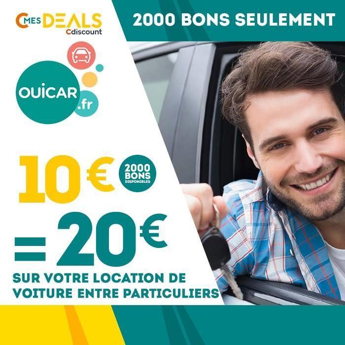 20€ à dépenser sur tout le site Ouicar (location de véhicules entre particuliers)