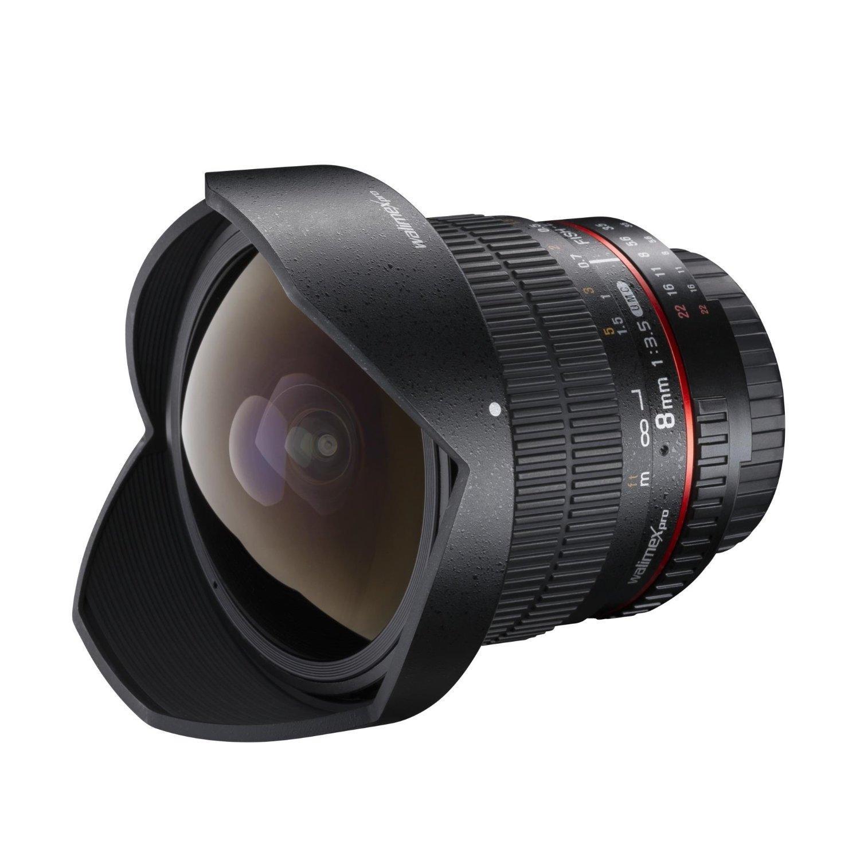 Objectif noir Walimex Pro Fish-Eye II pour Canon EF-S - 8 mm 1:3,5 DSLR (avec pare-soleil amovible)
