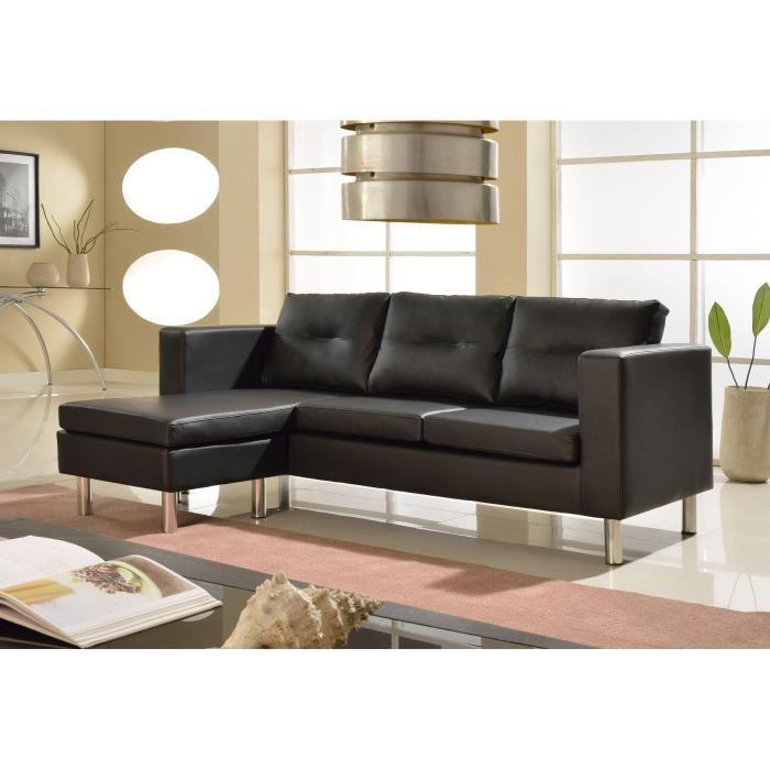Canapé d'angle Elena - Réversible et modulable en simili et tissu (3 places)