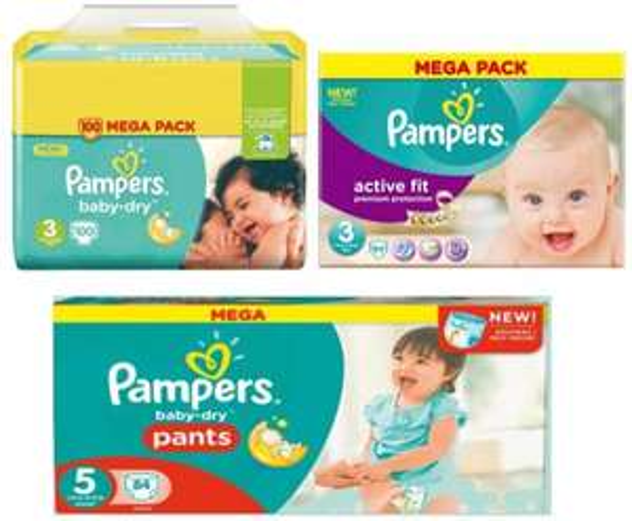 Mega Pack de couches Pampers Active Fit, Baby Dry ou Baby Dry Pants - plusieurs tailles (via 70% sur la carte + Coupon Network + BDR)