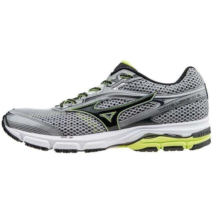 Chaussures de Running Mizuno Wave Legend 3 pour Hommes - Gris / Noir, Tailles : 42,5, 43 ou 44,5