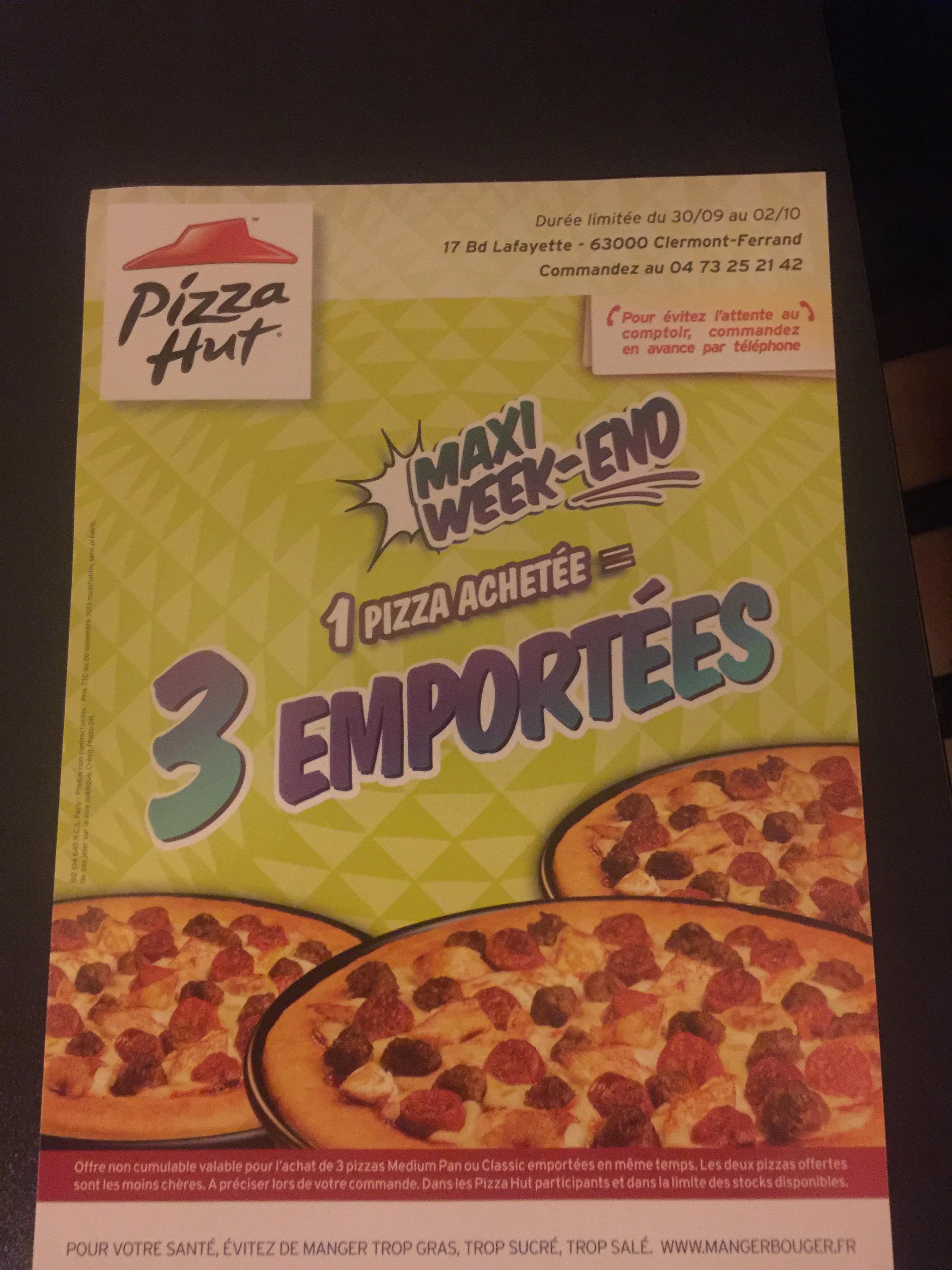 1 Pizza achetée = 2 Pizzas offertes - Medium Pan ou Classic