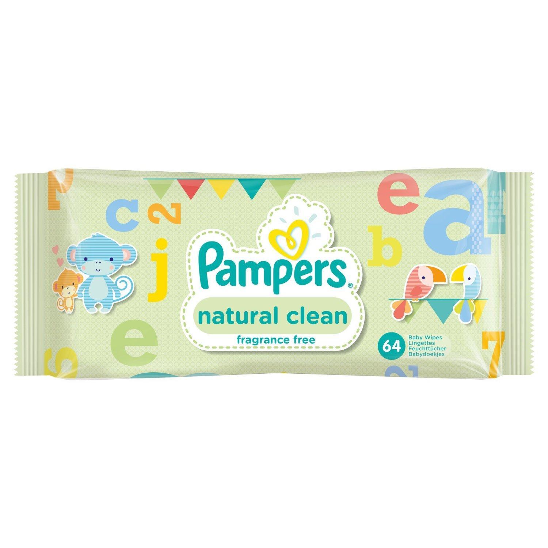 MAJ 12 Packs de 64 Lingettes Pampers Natural Clean (768 lingettes)