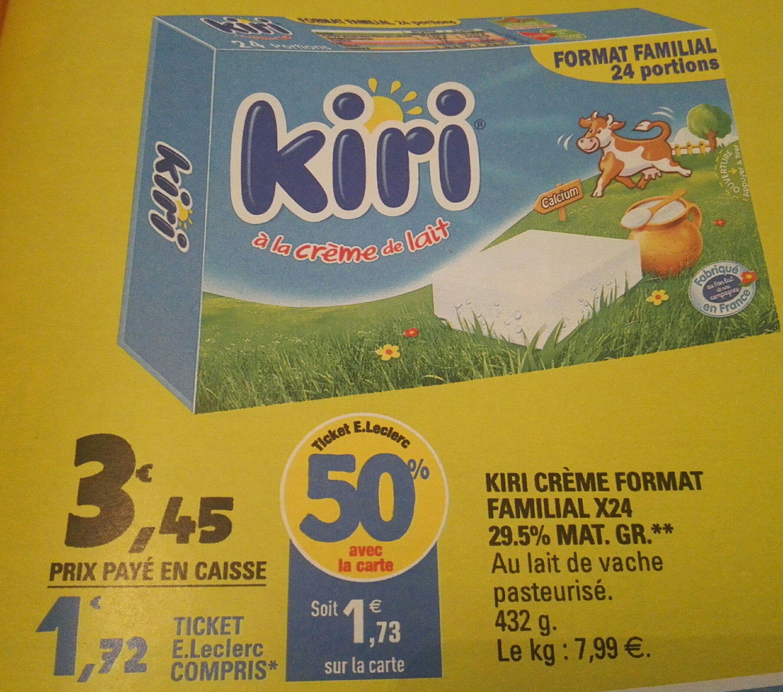 Boîte de Kiri crème x24 (via 1.73€ sur la carte et BDR)