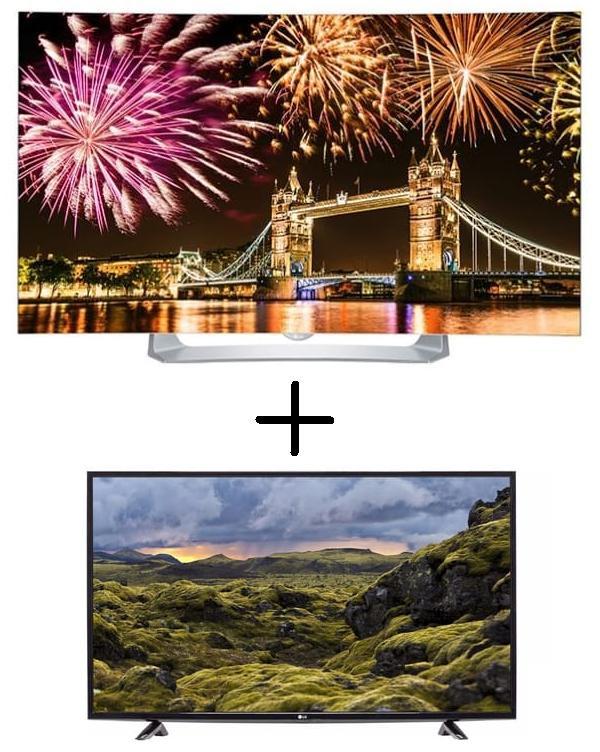 "TV 55"" LG 55EG910V - OLED, Incurvée, Full HD, Smart TV, 3D + TV 49"" LG 49LH5100 - LED, Full HD (via 500€ sur la carte + ODR de 499€)"