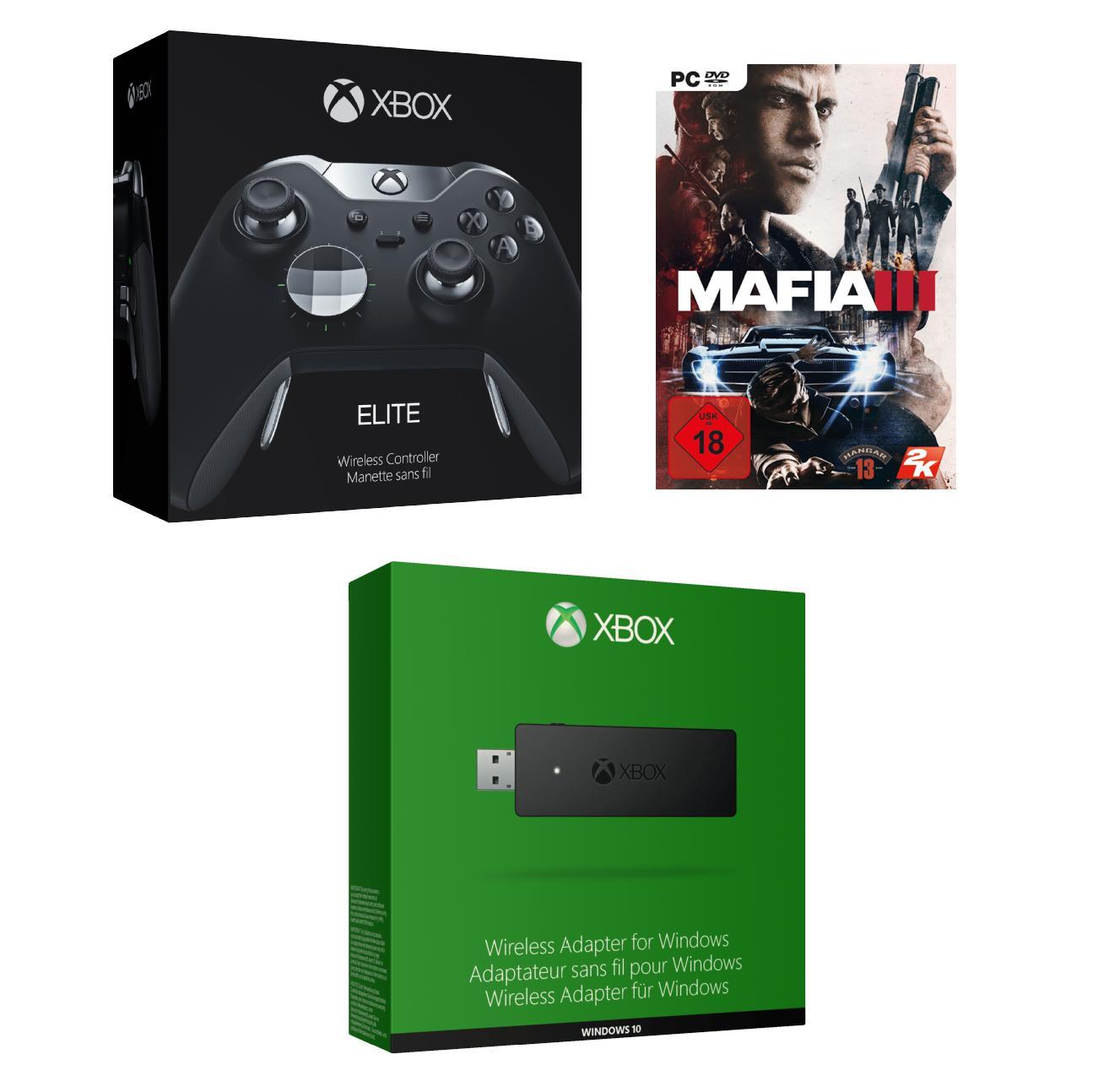 Manette Xbox One Elite + Adaptateur sans fil Windows + Mafia 3 sur PC