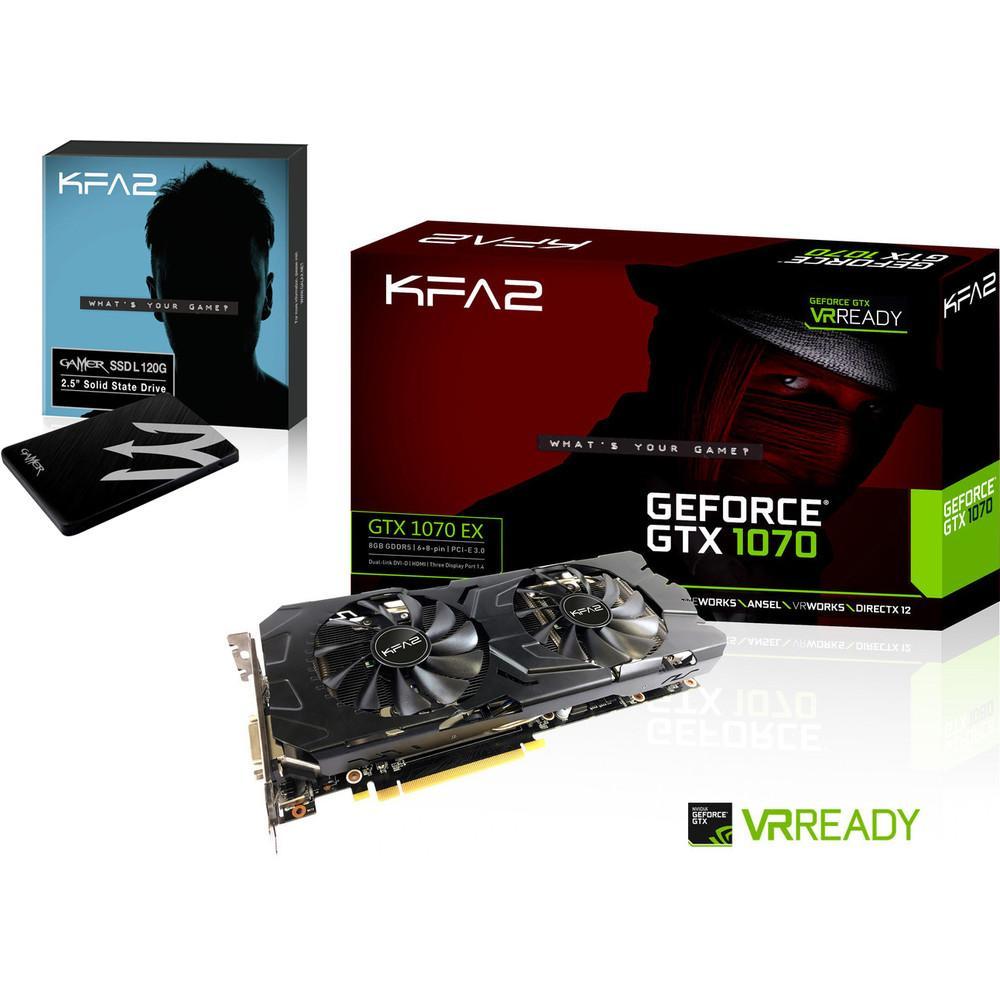 Pack carte graphique KFA2 GeForce GTX 1070 EX + SSD KFA2 Gamer SATA III - 120 Go + Gears of War 4