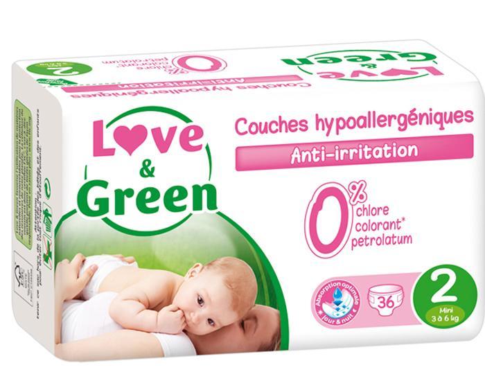 20% de réduction sur les produits Love & Green - Ex: Couches hypoallergéniques (x23)