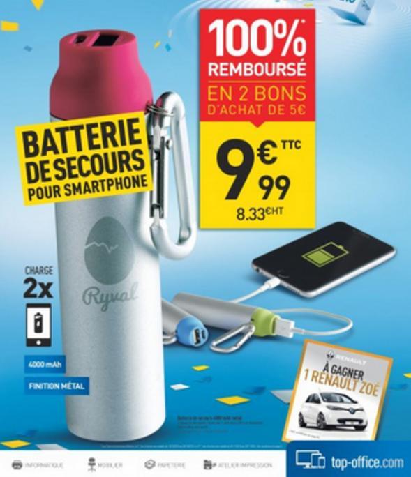 Batterie externe Ryval 4000mah (+ 2 Bons d'achat de 5€)
