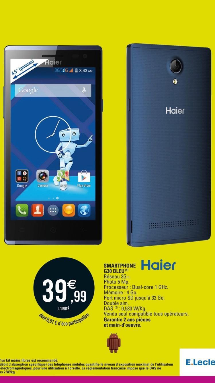 "Smartphone 4.5"" Haier G30 Bleu Double SIM - Dual-Core 1GHz, RAM 512Mo, 4Go"