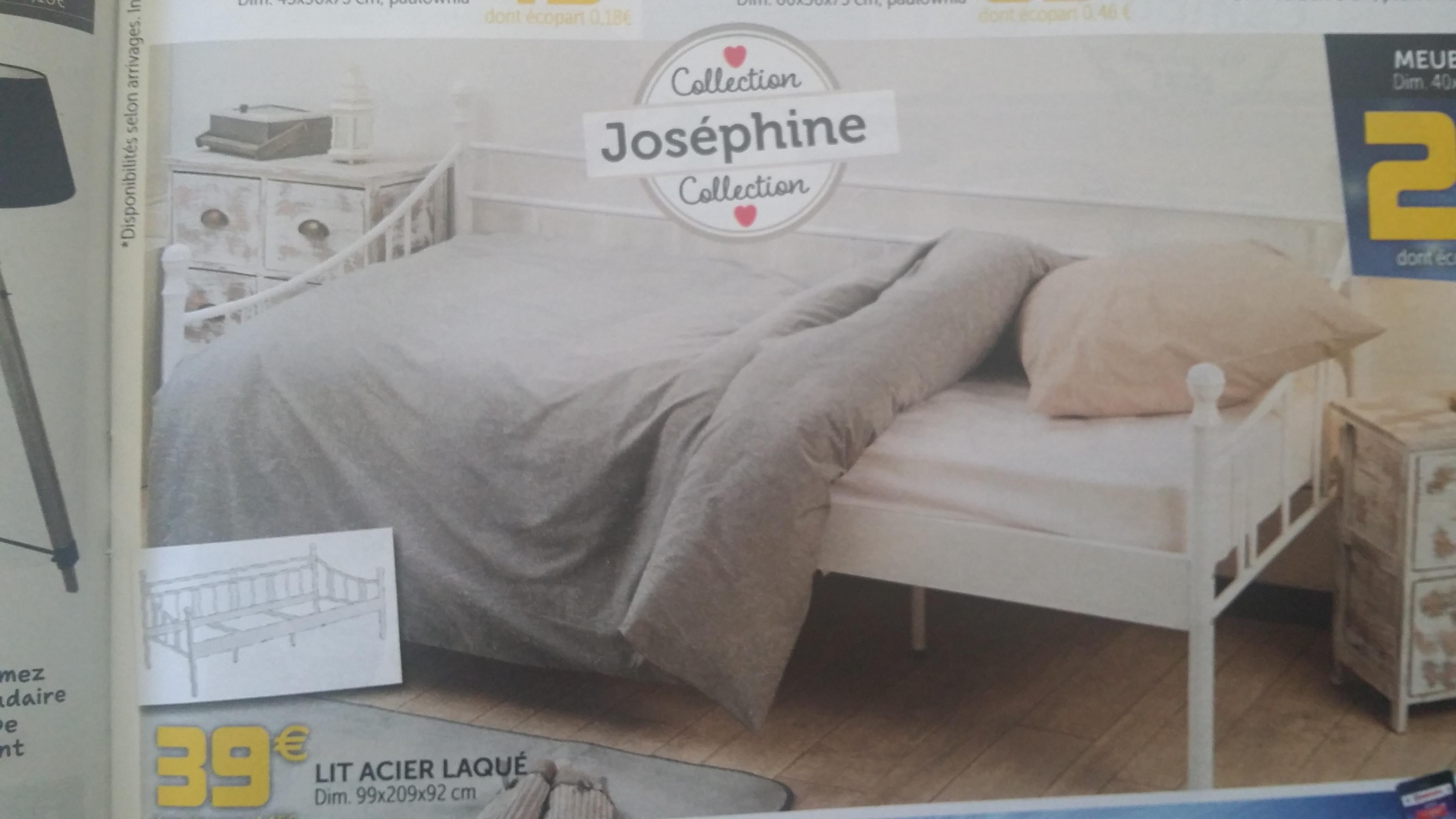 Structure de lit Joséphine (99x209x92 cm, en acier laqué, blanc)