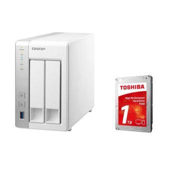 "Nas Qnap TS-231 2 baies + Disque dur 3.5"" Toshiba P300 1 To"
