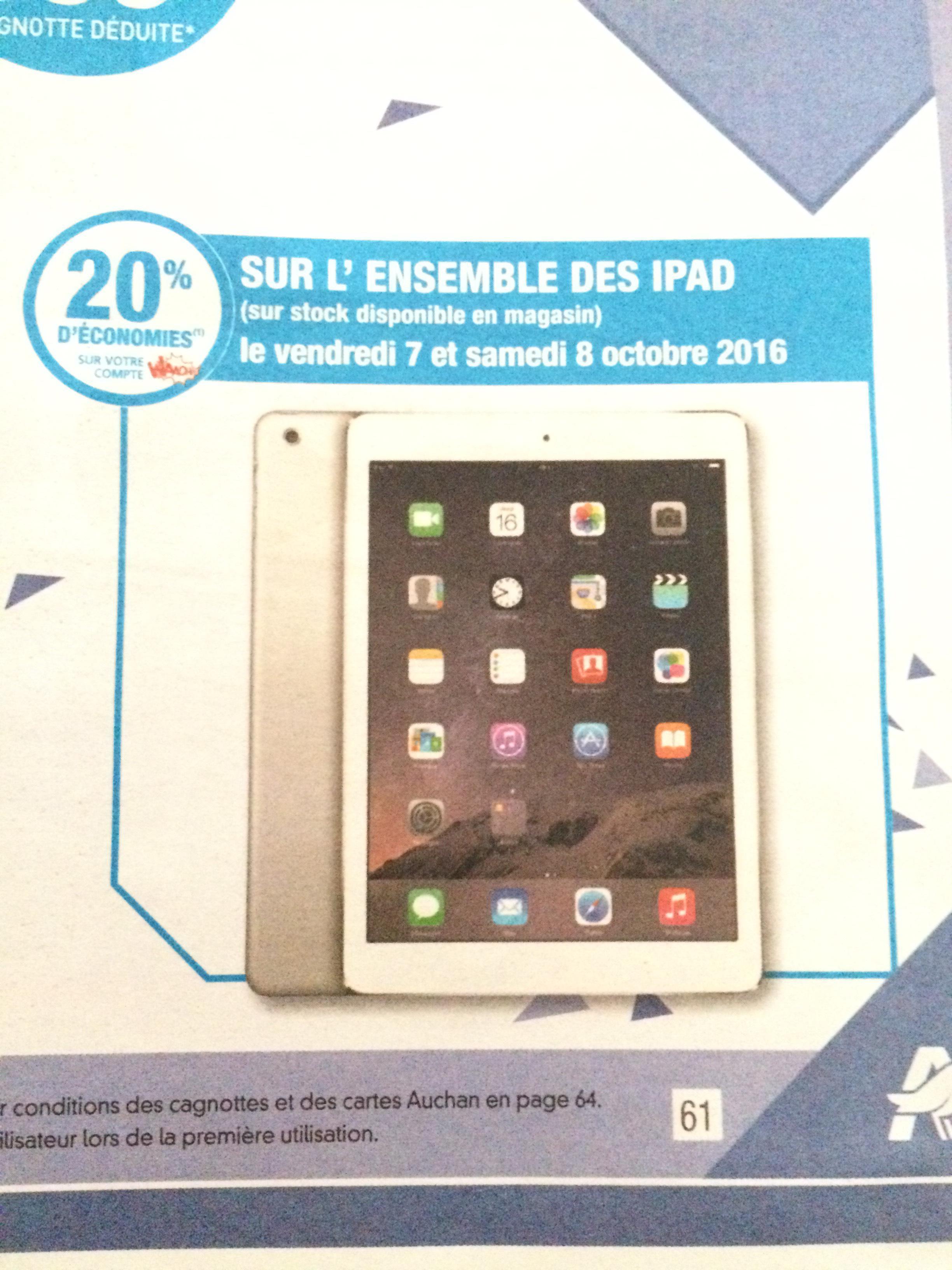 20% de remise fidélité sur tous les iPads - Ex : Tablette Apple iPad Air 2 - 16 Go (avec 79.8€ sur la carte)