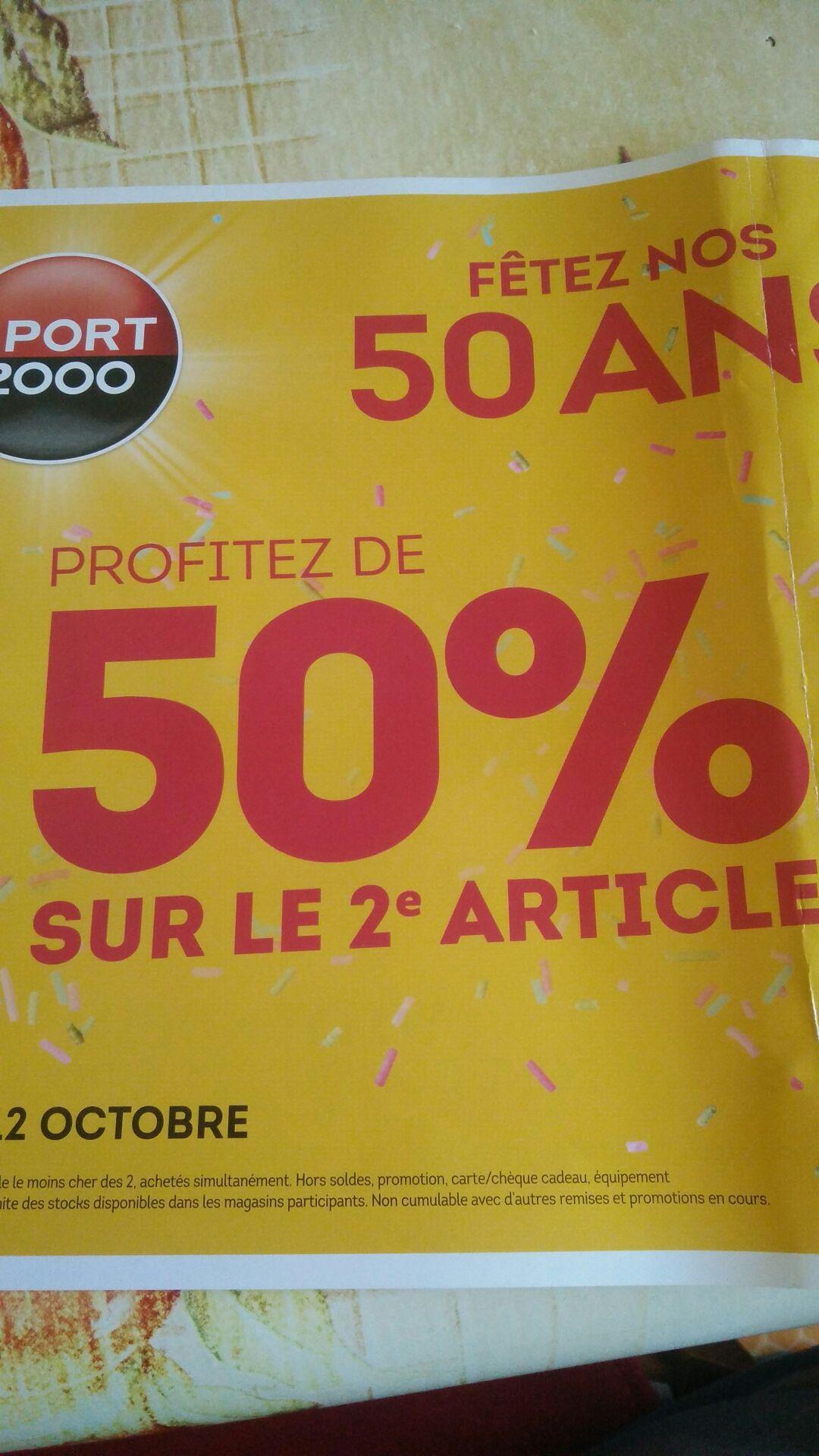1 Article acheté = 50% de réduction sur le 2ème article