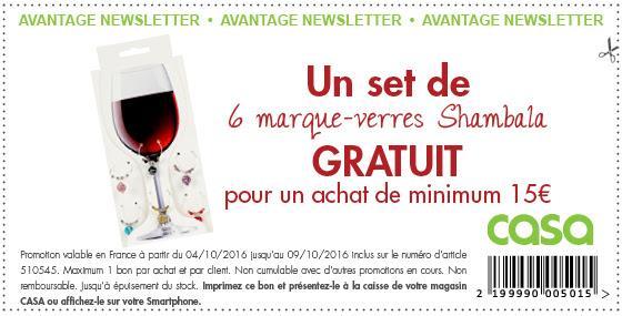 Un set de 6 marque verres Shambala offert dès 15€ d'achat