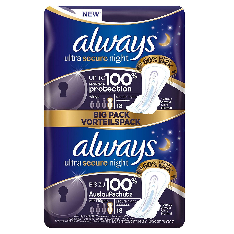 Lot de 10 paquets de serviettes hygiéniques Always Ultra Secure Night - x18