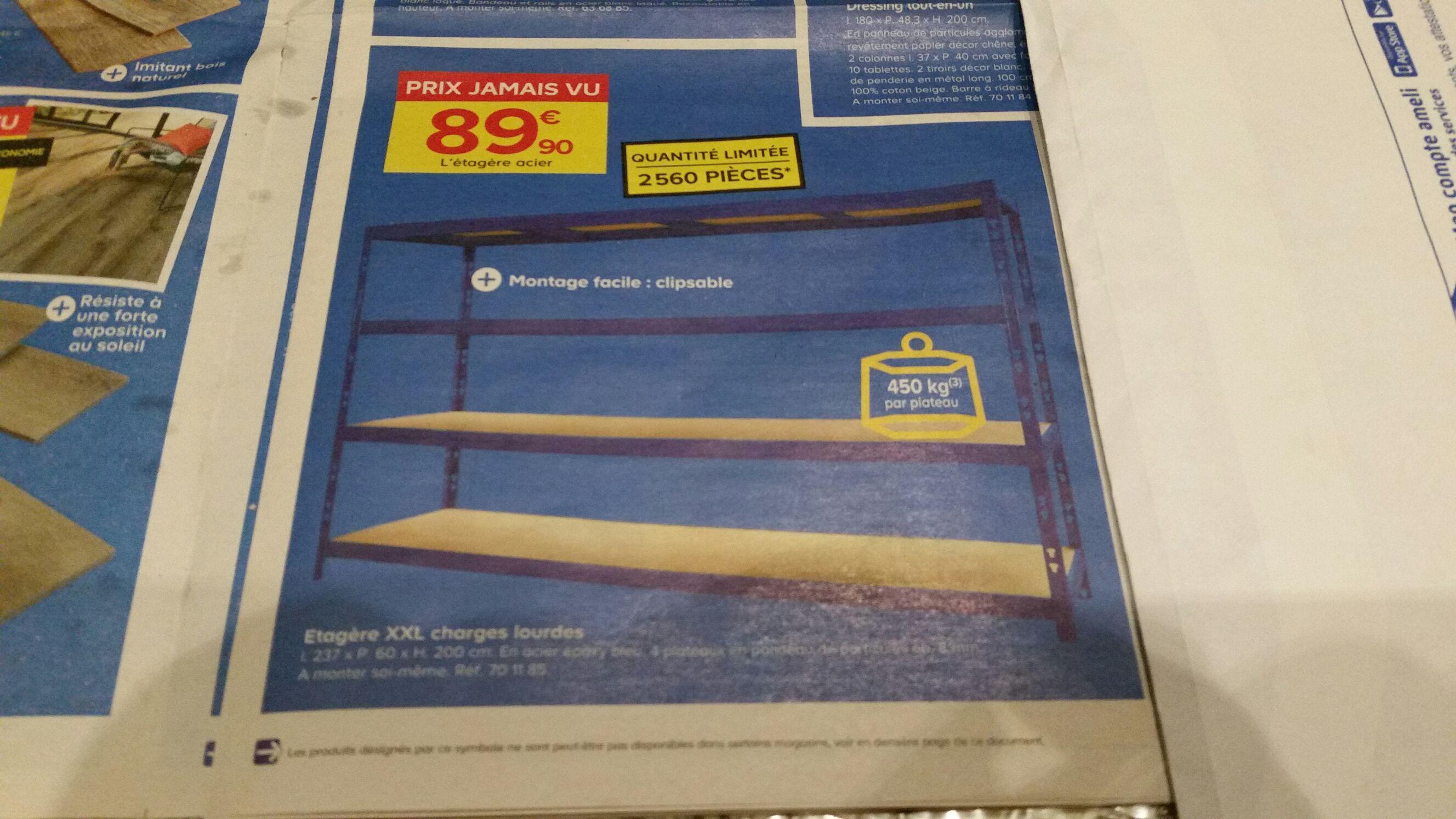 Étagère XXL charges lourdes (L 237 x P 60 x H 200cm)