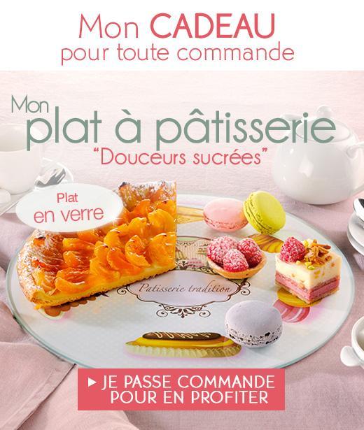 un plat à pâtisserie offert + livraison offerte à domicile sans minimum d'achat