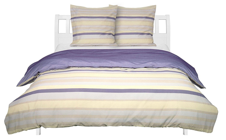 Parure de lit en polycoton, Motif rayures multicolores, 200 x 200 cm et 2 taies d'oreiller de 65 x 65 cm