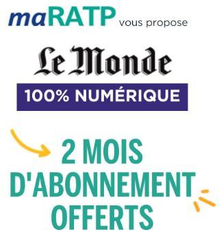 [Abonnés RATP] Abonnement de 2 mois gratuit au journal Le Monde (version numérique)