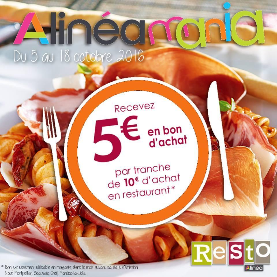 5€ en bon d'achat par tranche de 10€ en restauration (max. 90€)