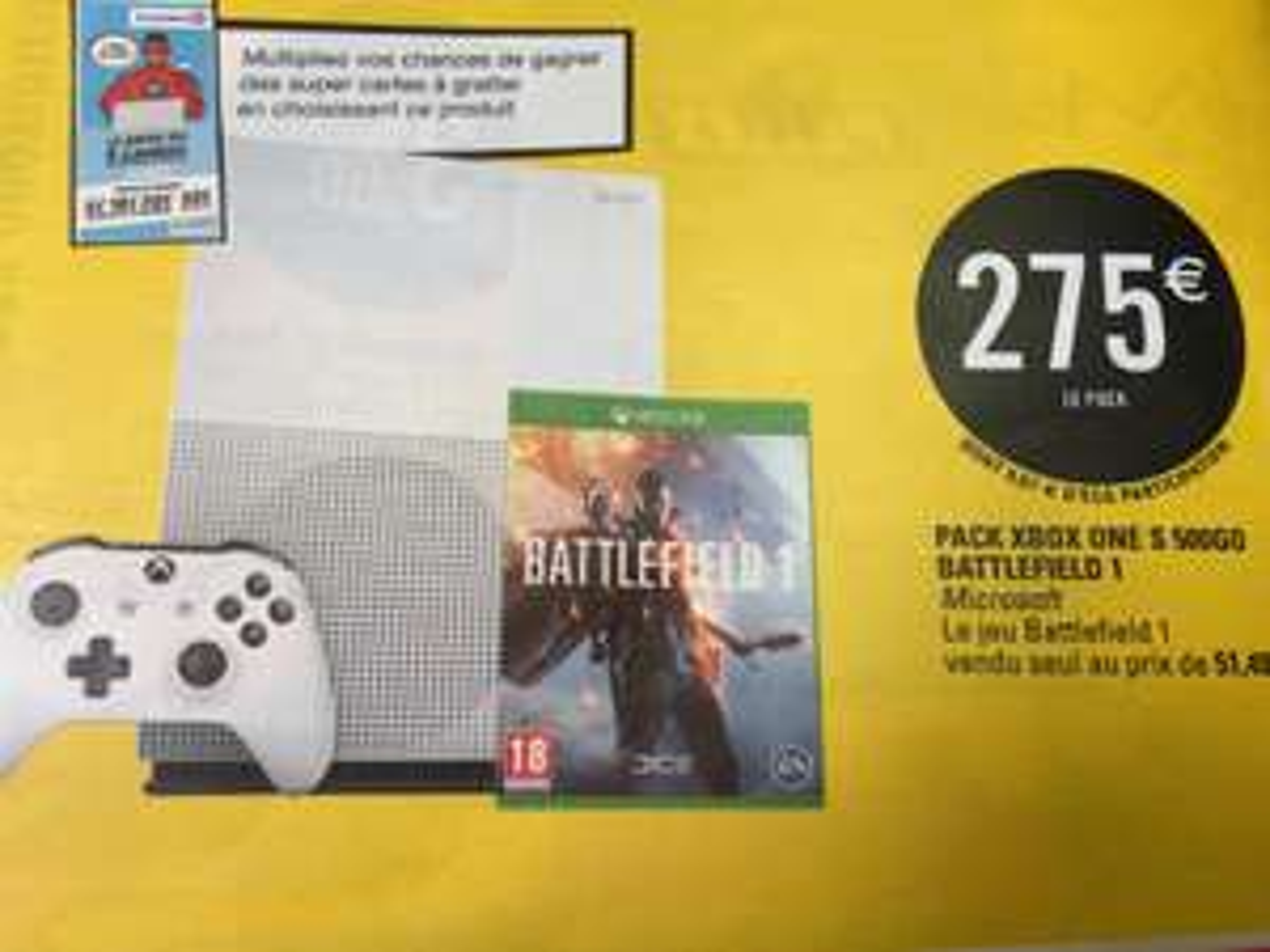 Console Microsoft Xbox One S 500go + Battlefield 1 (dématérialisé)