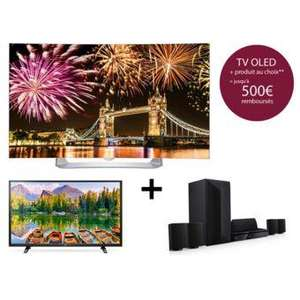 "TV 55"" incurvée LG 55EG910V - full HD, OLED, 3D, smart TV + TV 43"" 43LH500T Full HD + Home-Cinéma Blu-ray 3D 1000W LG LHB625 (via ODR de 378.1€)"